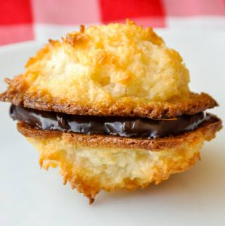 Macaroons sandwiched with chocolate ganache.