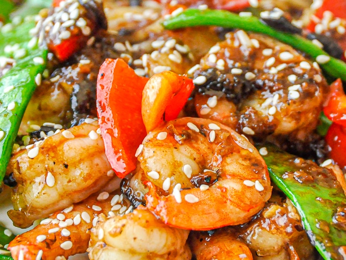 Easy Black Bean Ginger Spicy Shrimp close up photo