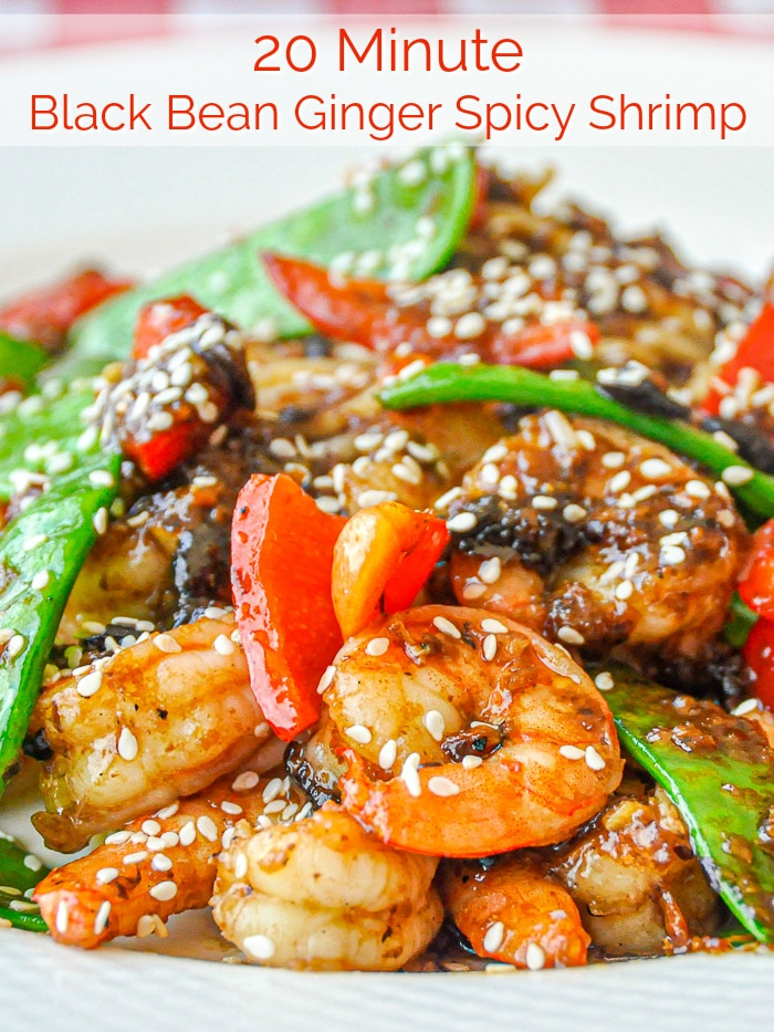 Easy Black Bean Ginger Spicy Shrimp photo with title text for Pinterest