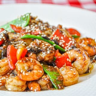 Easy Black Bean Ginger Spicy Shrimp square cropped featured image