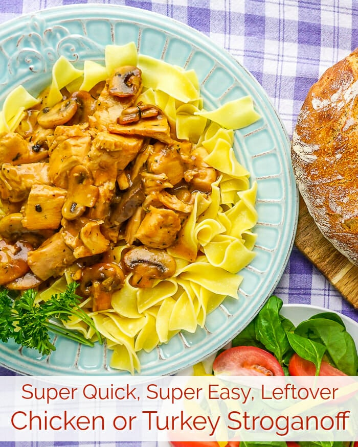 Easy Leftover Turkey Stroganoff. One of the easiest and most delicious leftover turkey or chicken dinners we have ever featured here on Rock Recipes.