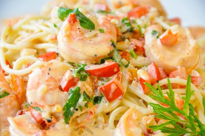 Spicy Creamy Garlic Shrimp Pasta close up photo of a single serving