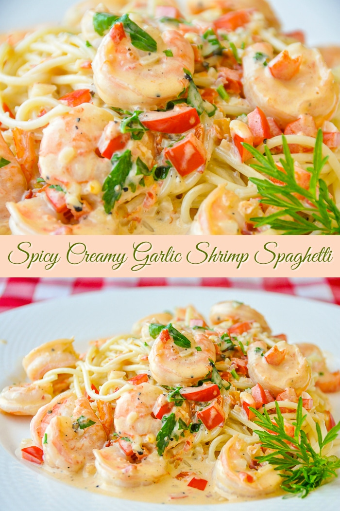 Spicy Creamy Garlic Shrimp Pasta photo collage with title text for Pinterest