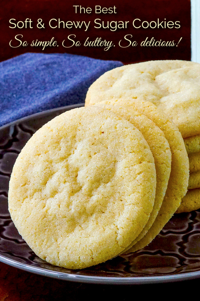 Soft and Chewy Sugar Cookies Photo with title text added for Pinterest