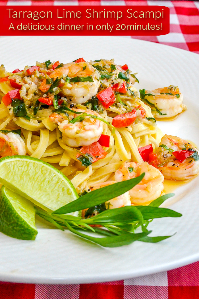 Tarragon Lime Shrimp Scampi close up photo with title text added for Pinterest