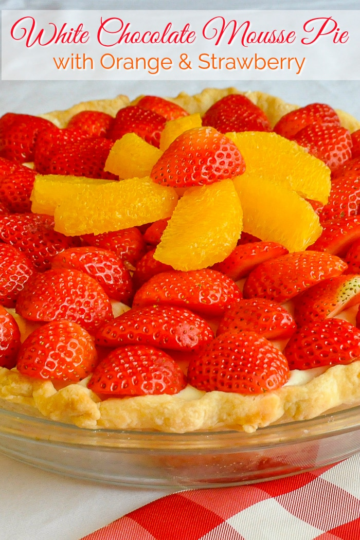 White Chocolate Mousse Pie photop with title text added for Pinterest