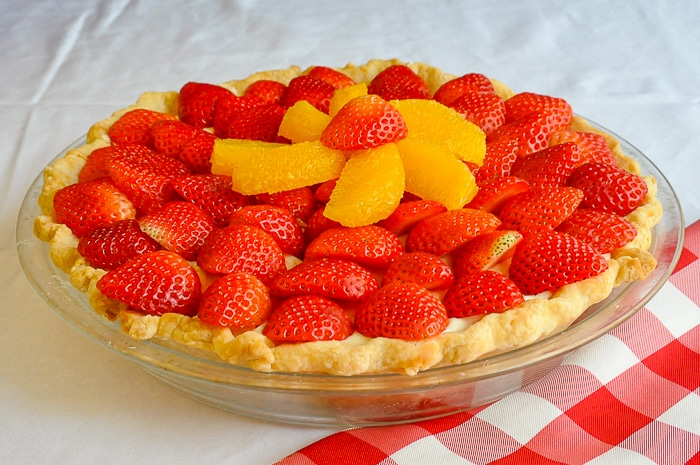 White Chocolate Mousse Pie with Orange and Strawberry photo of finished pie