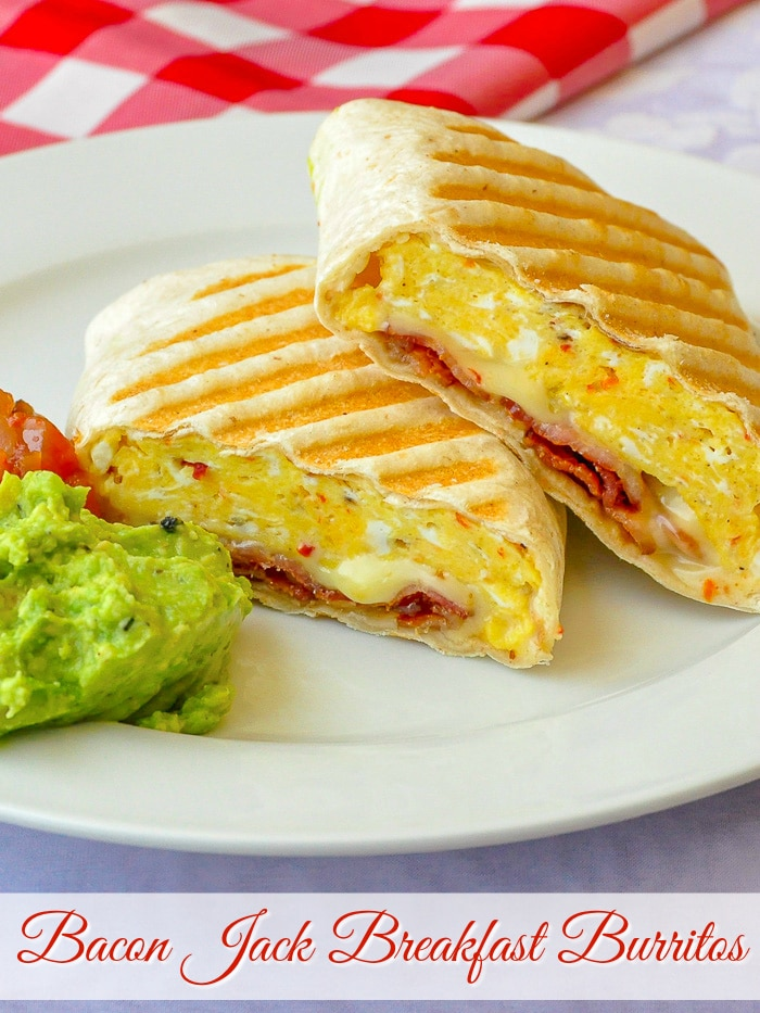 Bacon Jack Breakfast Burritos photo with title text for Pinterest