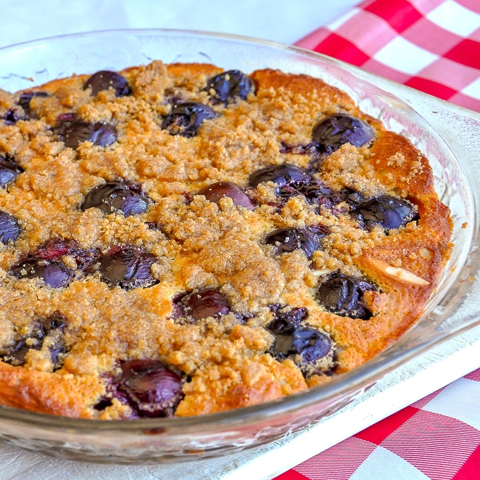 Cherry Almond Clafoutis close up square featured photo