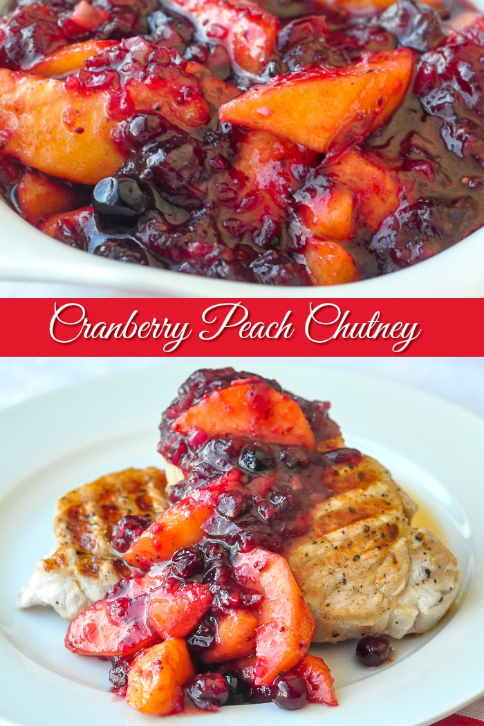 Cranberry Peach Chutney Photo collage with title text added for Pinterest