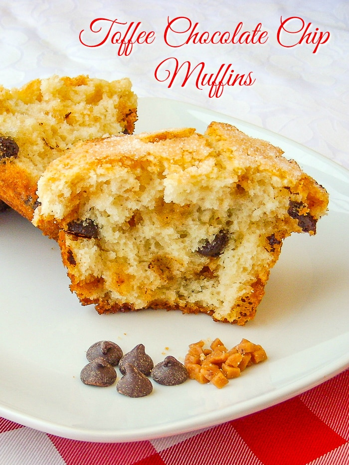 Toffee Chocolate Chip Muffins photo with title text for Pinterest