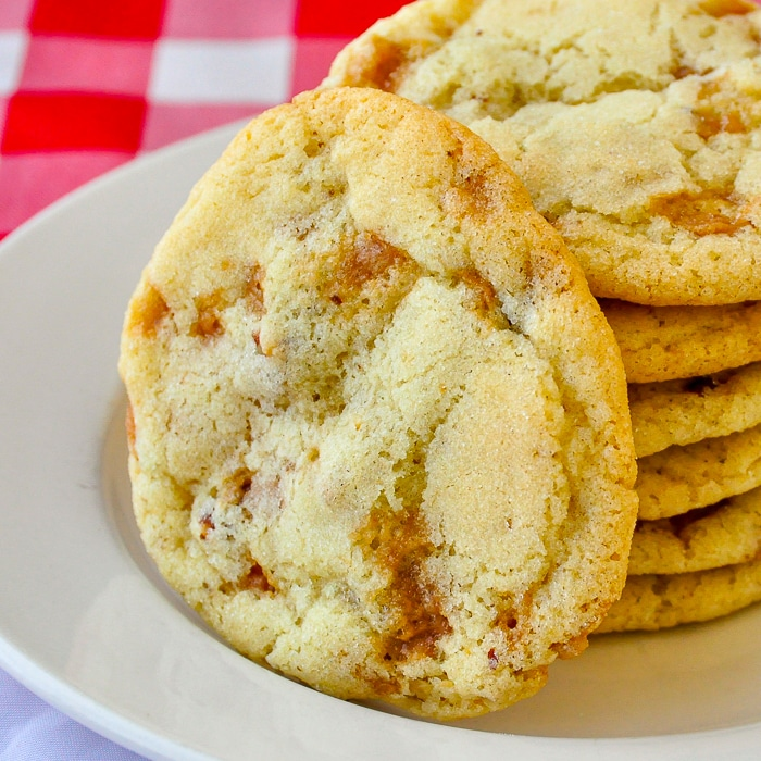 Toffee Pecan Cookies close up square cropped photo for featured image