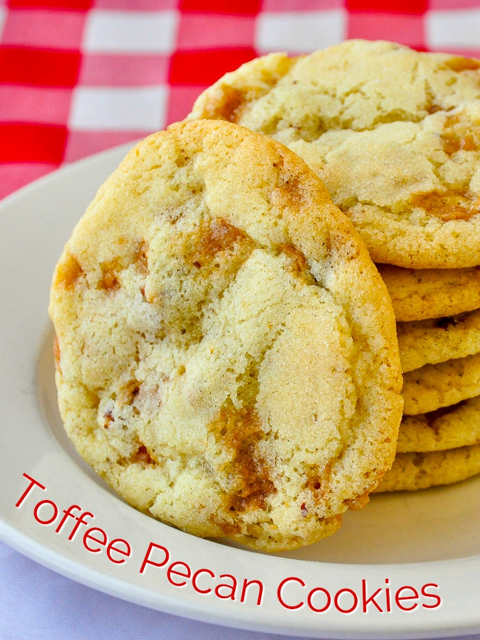 Toffee Pecan Cookies photo with title text for Pinterest