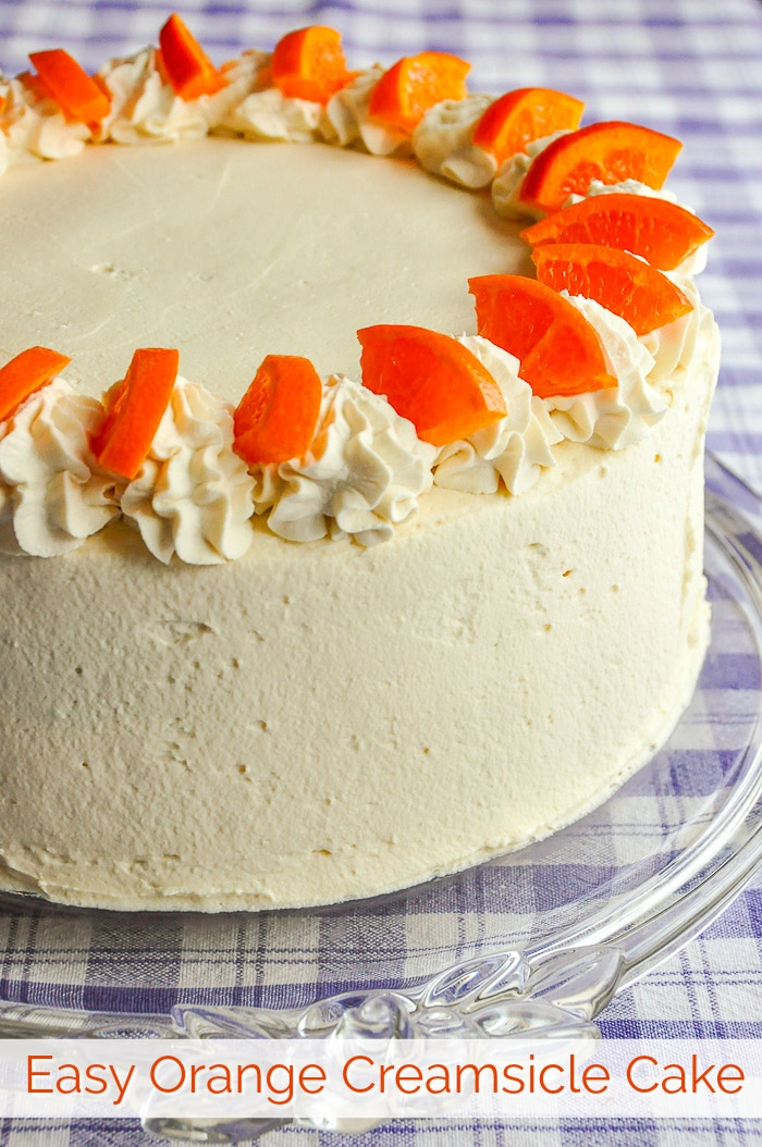 Easy Orange Creamsicle Cake photo with title text for Pinterest