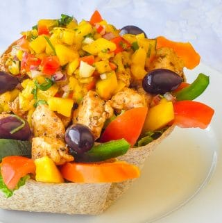 Low Fat Chicken Taco Salad with Mango Salsa square cropped featured image