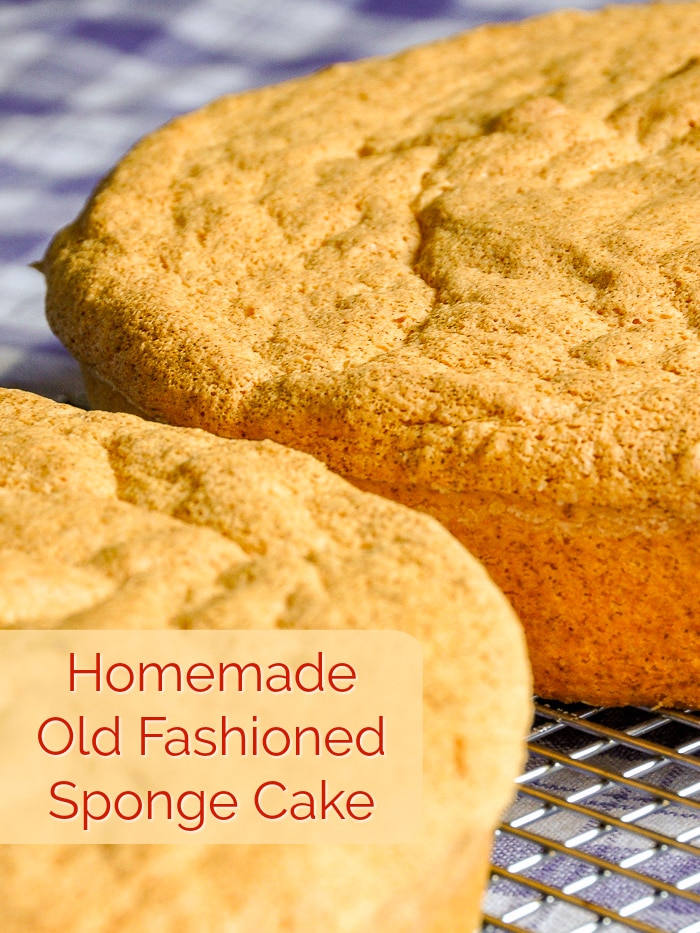 Old Fashioned Sponge Cake photo with title text for Pinterest