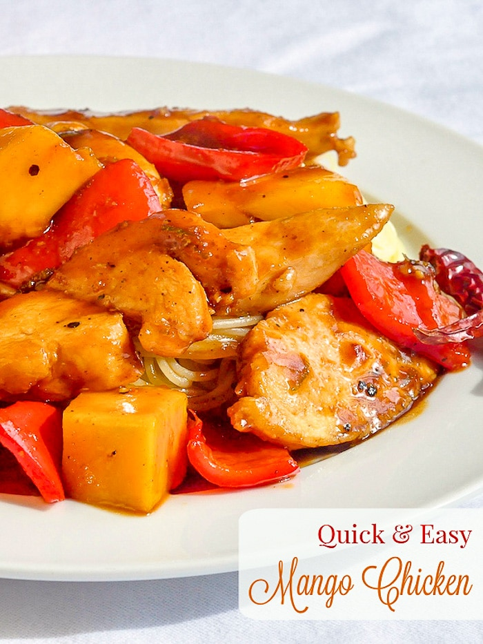 Quick and Easy Mango Chicken photo with title text for Pinterest