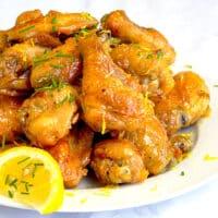 Baked Honey Lemon Glazed Wings close up photo