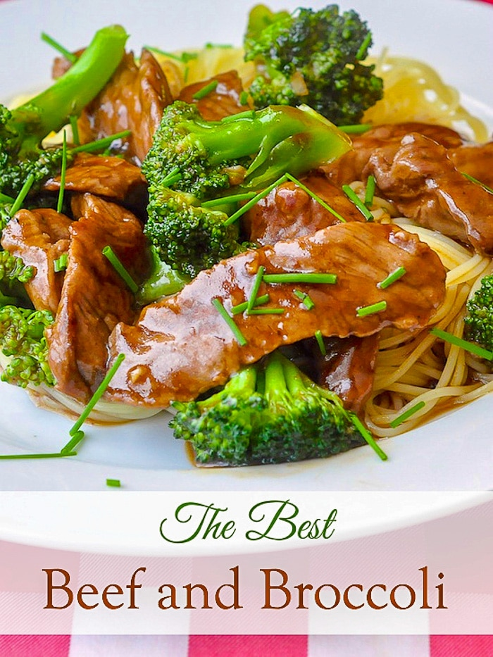 Beef & Broccoli image with title text for Pinterest