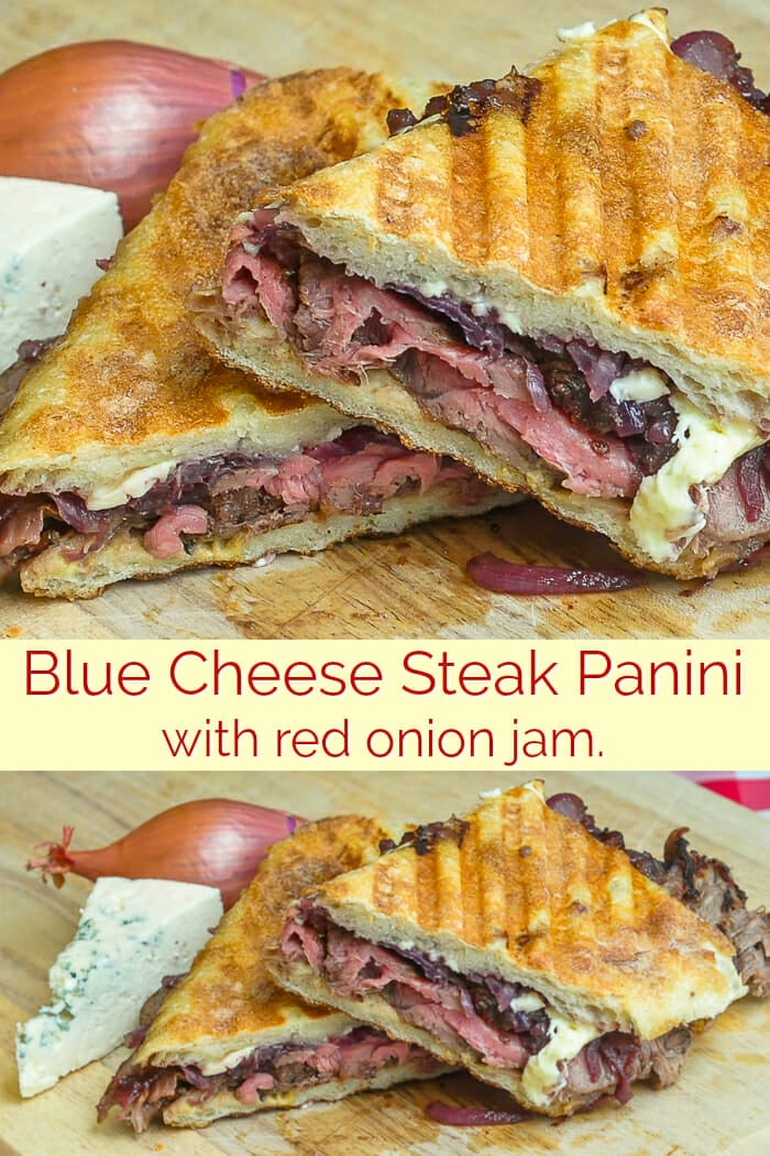 Blue Cheese Steak and Red Onion Jam Panini image collage with text fro Pinterest.