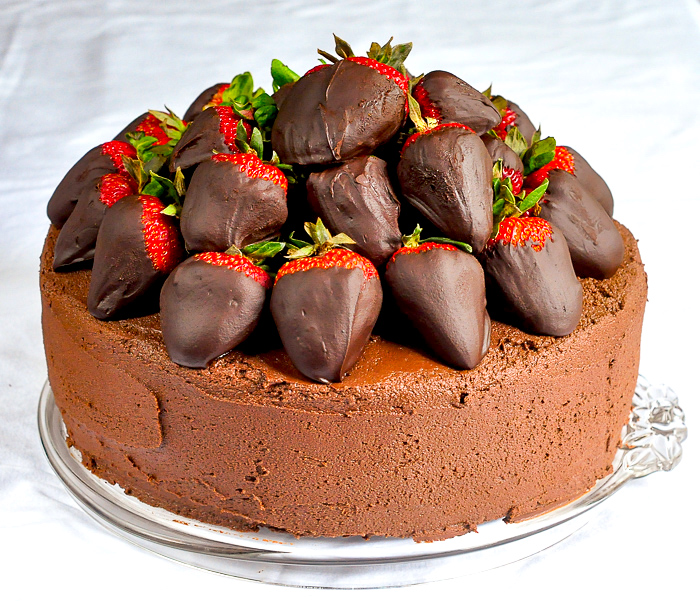 Chocolate Fudge Cake with Chocolate Truffle Dipped Strawberries photo of completed uncut cake