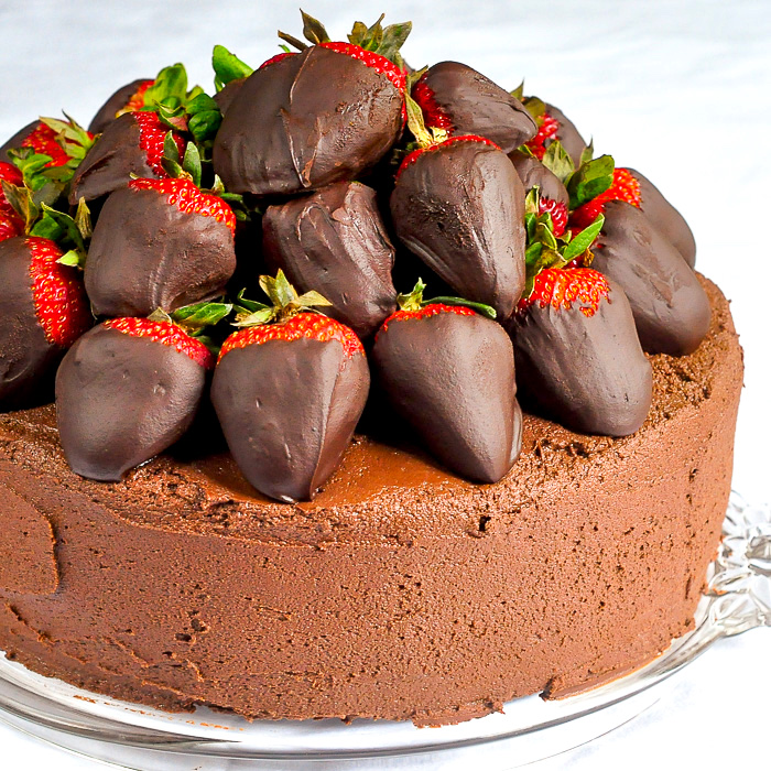 Chocolate Fudge Cake with Chocolate Truffle Dipped Strawberries square cropped photo for featured image
