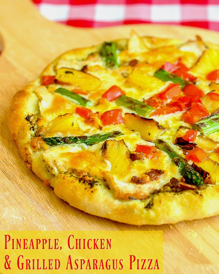 Pineapple Pizza with Grilled Chicken and Asparagus photo with title text for Pinterest