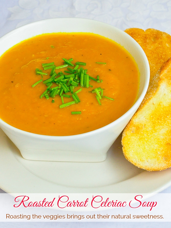 Roasted Carrot Celeriac Soup photo with title text added for Pinterest