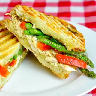 Asparagus Panini with pesto and grilled chicken