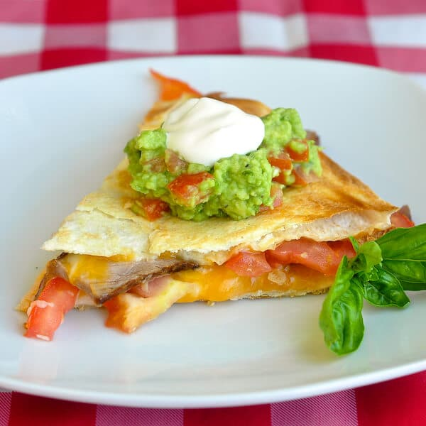 Broiled Cheddar Steak Quesadillas