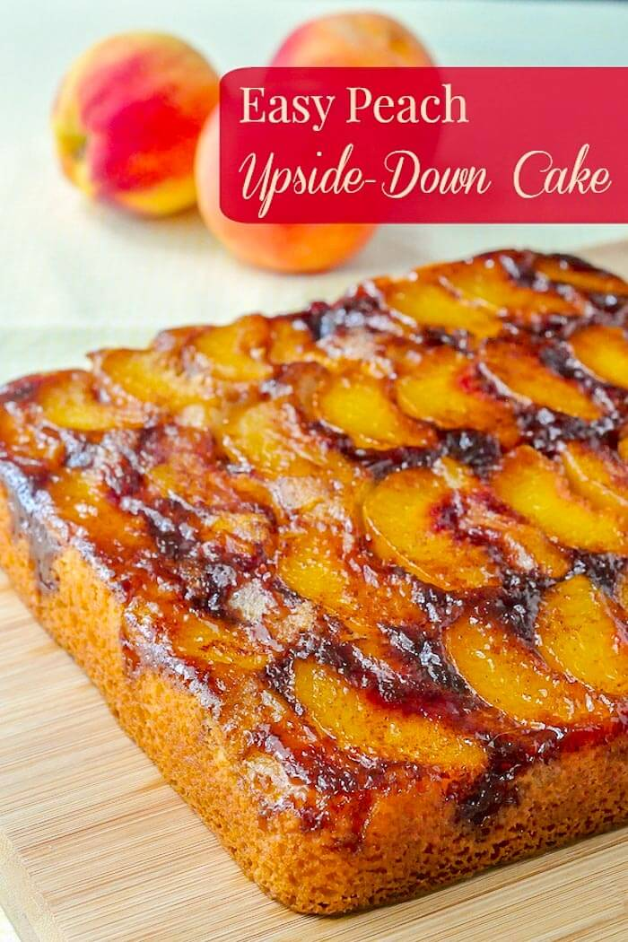 Peach Upside Down Cake photo with title text added for Pinterest
