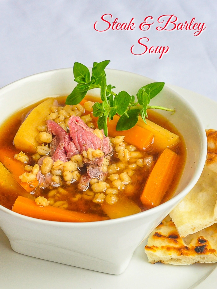 Steak and Barley Soup photo with title text added for Pinterest
