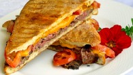Steak Cheddar and Tomato Panini with Rosemary Parmesan Mayo