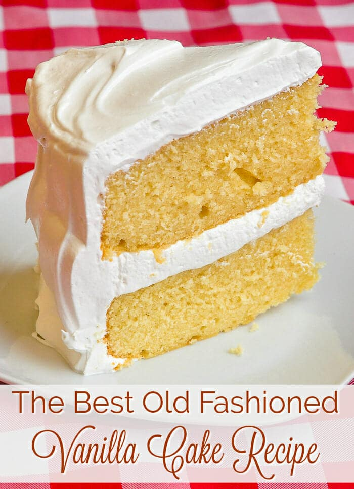 The best vanilla cake photo with title text for Pinterest