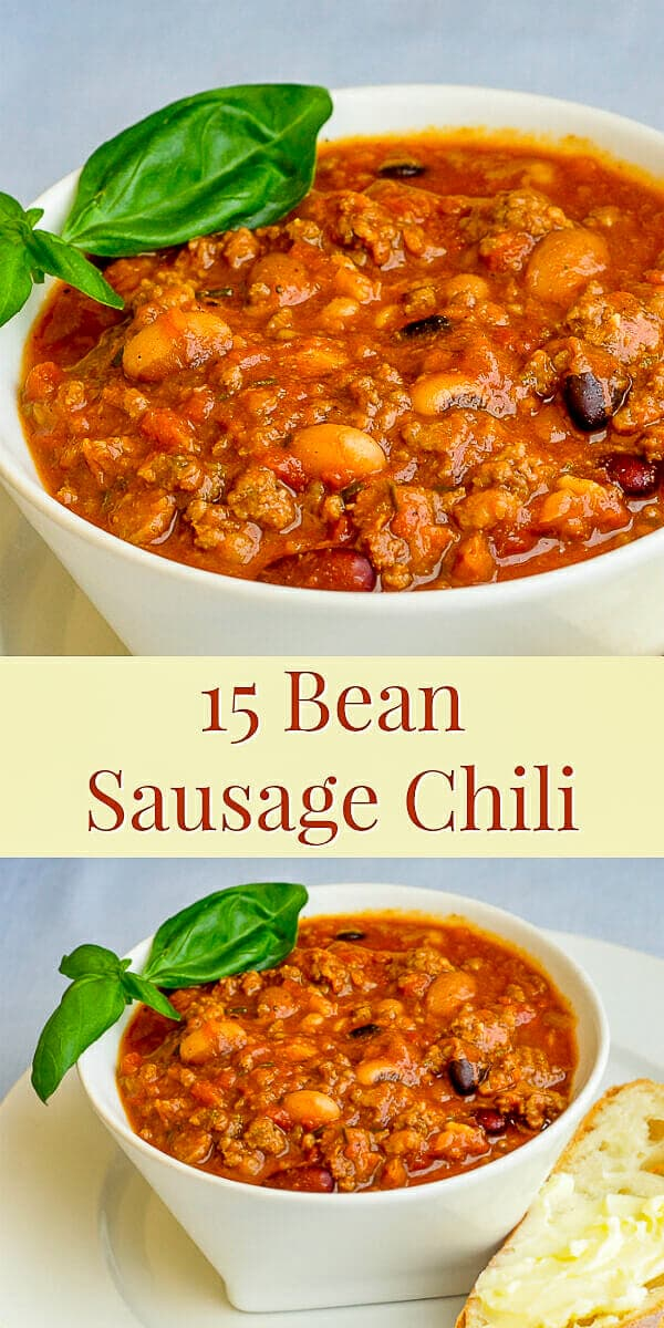 15 Bean Sausage Chili image for Pinterest