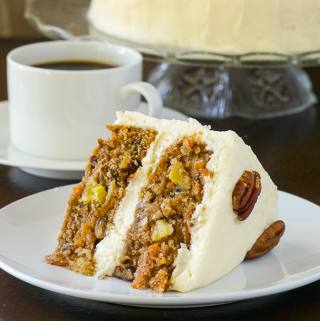 Pecan Pineapple Carrot Cake with Vanilla Buttercream Frosting