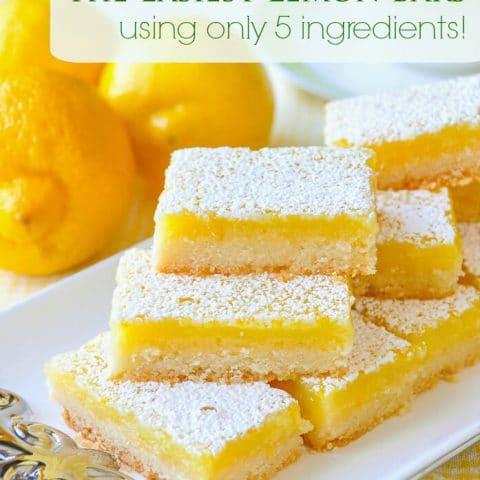 Super Easy Lemon Bars using only 5 simple ingredients