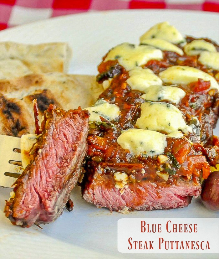 Blue Cheese Steak Puttanesca photo with title text for Pinterest
