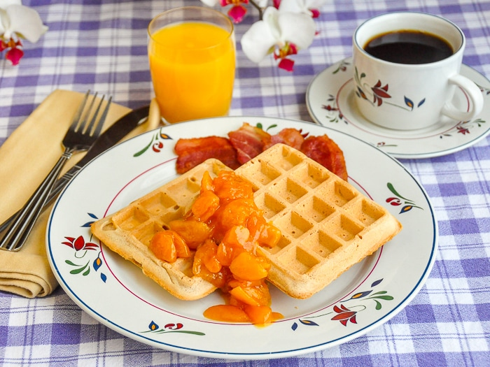 Cinnamon Waffles with Apricot Orange and Brandy Compote photo of a single serving