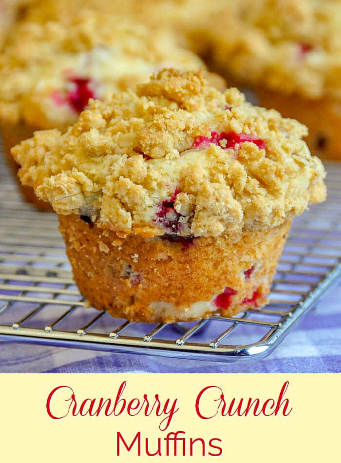 Cranberry Crunch Muffins. Image with title text for Pinterest.