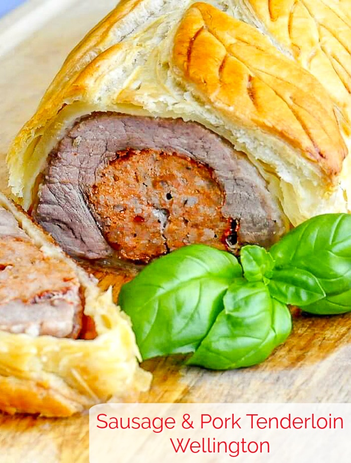 Sausage Pork Tenderloin Wellington. An easy, dinner party worthy recipe using store bought frozen puff pastry. Plus side dish and dessert suggestions too! #porkrecipes #dinnerparty #porktenderloinrecipes #easydinnerparty #mealplanning #mealprep