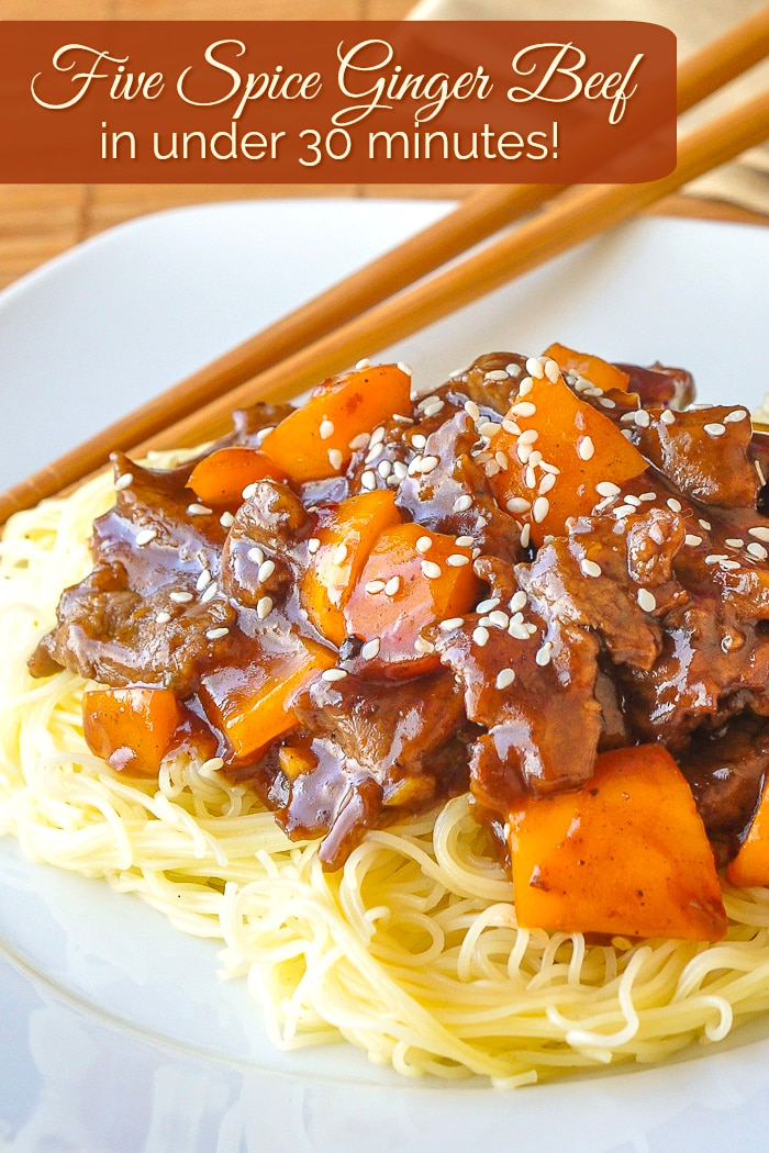 Five Spice Ginger Beef photo with title text for Pinterest