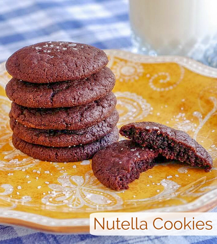Nutella Cookies photo with title text for Pinterest
