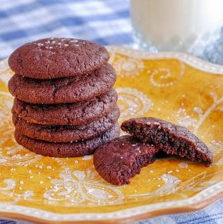 Nutella Cookies stacked on yellow plate