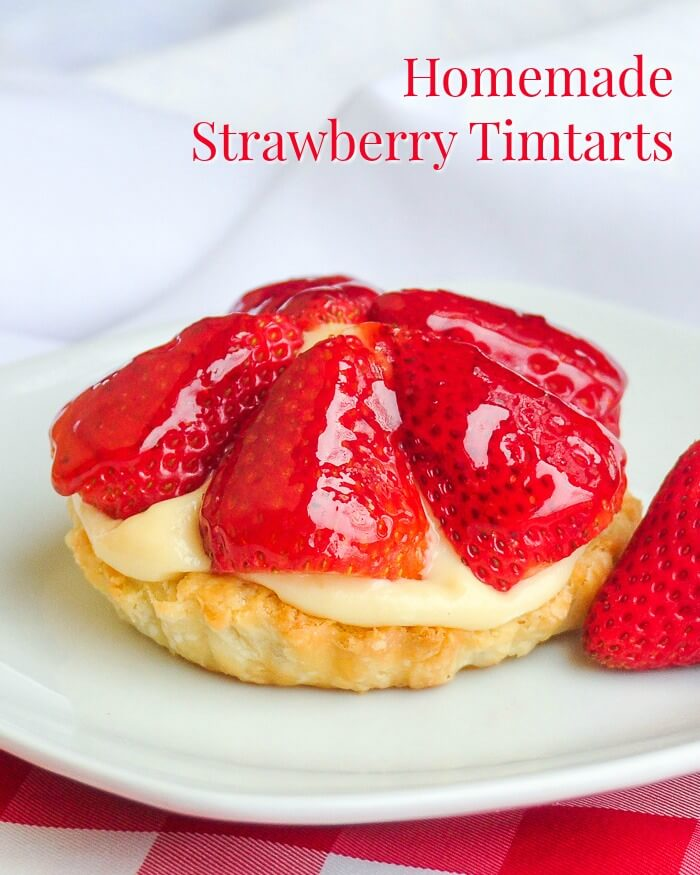 Strawberry Custard tarts aka Tim Tarts image with text