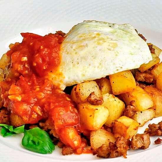 Italian Sausage Hash with Quick Tomato Compote