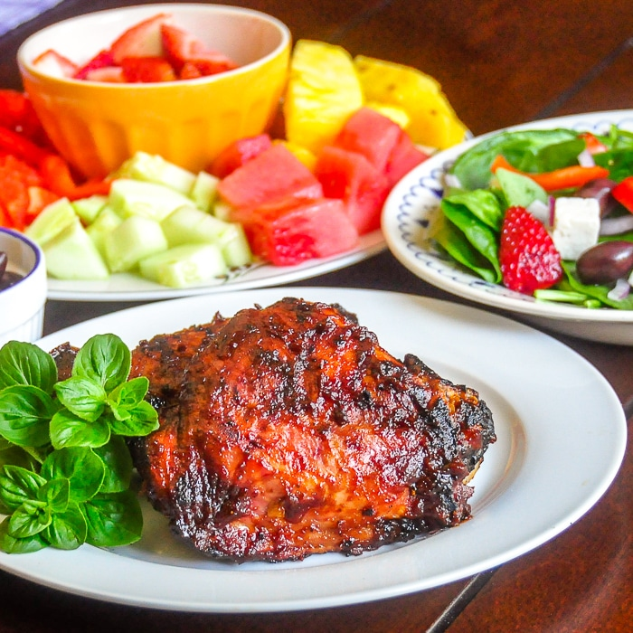 Brown Sugar Balsamic Barbecue Sauce on turkey thighs
