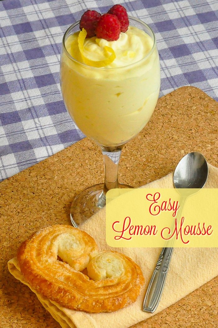 Easy Lemon Mousse photo with title text for Pinterest.