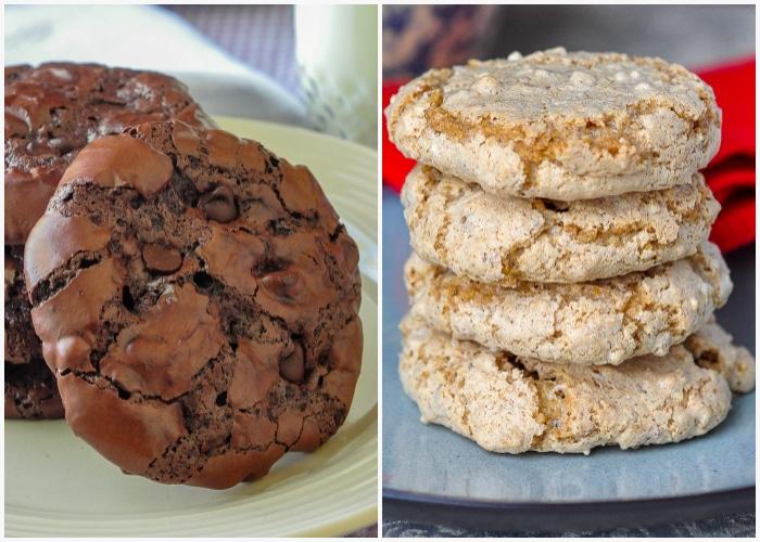 2 photo collage of Gluten Free Chocolate Pavlova Cookies and Nut Meringue Cookies