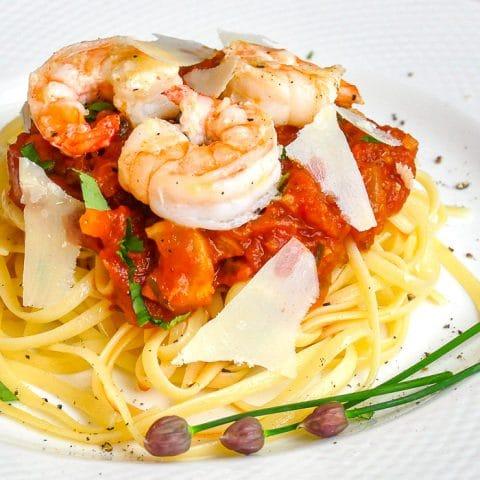 Tomato Fennel Pasta Sauce close up photo of sauce on linguine